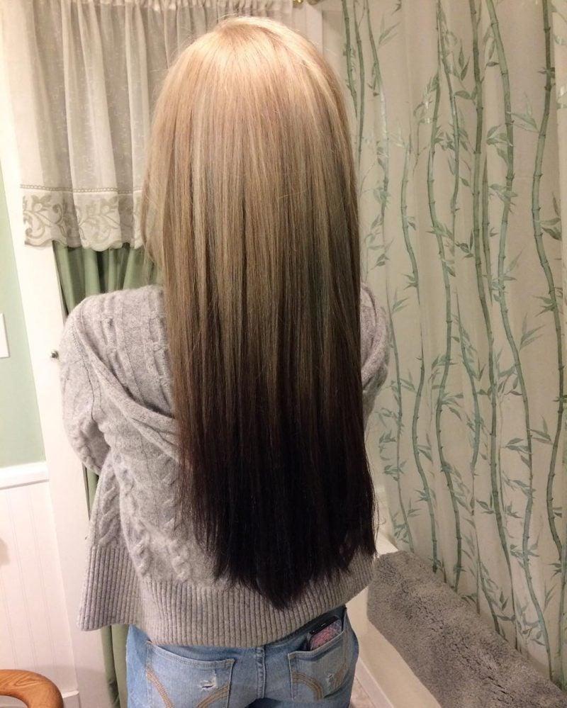 Ombre Braun Reverse lange Haare blonder Haaransatz