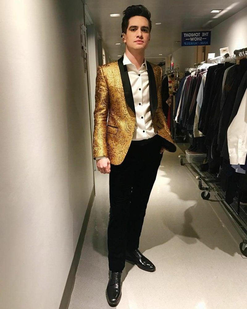 Anzüge Herren sakko golden schwarze Hose