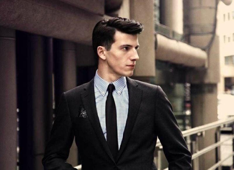 Anzüge Herren schwarz Karohemd Krawatte