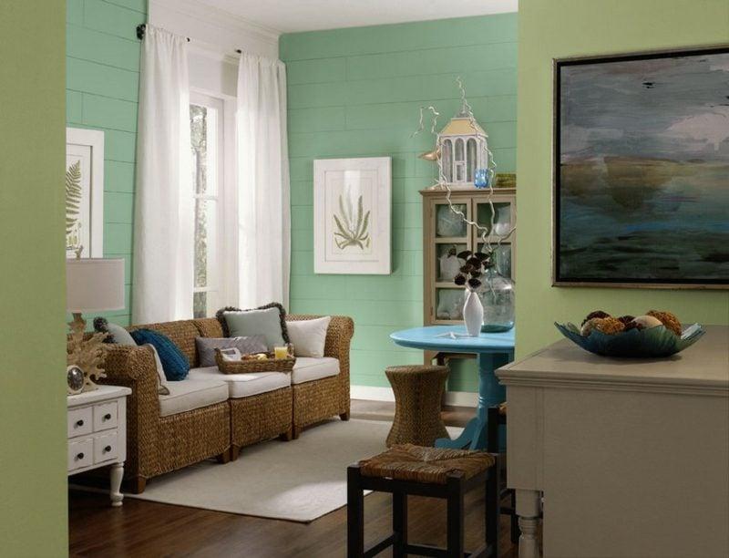 Farbe Salbei vs Minzgrün Wohnzimmer