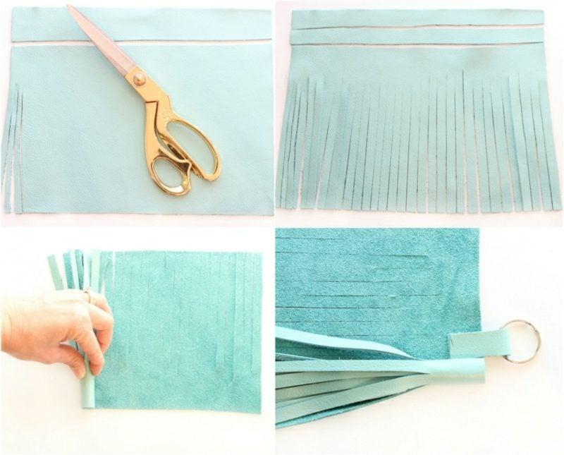 Schlüsselanhänger selber machen aus Leder Bilderanleitung