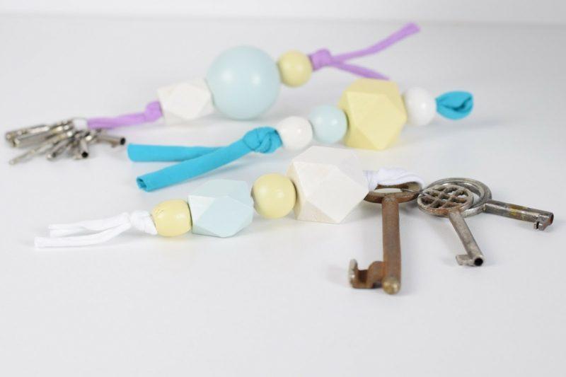 Schlüsselanhänger selber machen Holzperlen originell