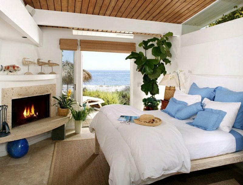 Pflanzen im Schlafzimmer Kamin gemütlich einladend