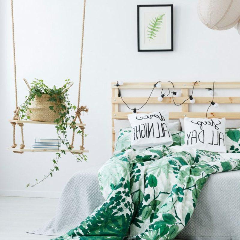 Pflanzen im Schlafzimmer kreativ arrangieren herrlicher Look