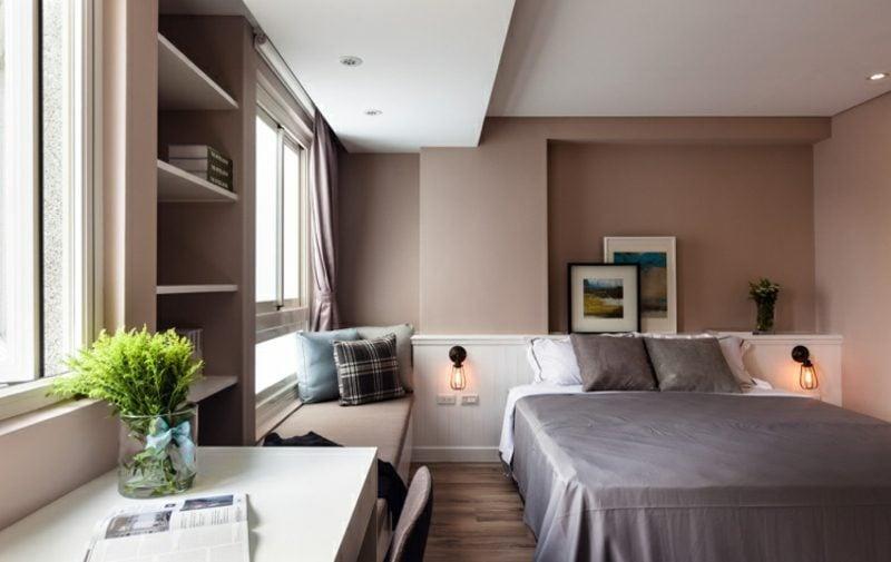welche Farben passen zusammen Schokobraun Weiss Schlafzimmer