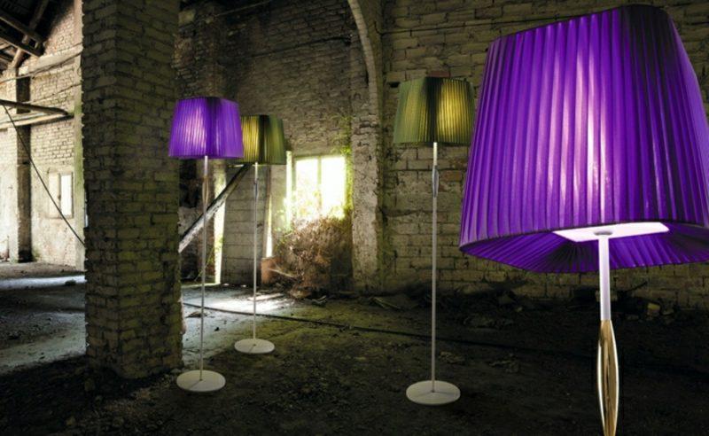 Stehlampen modern Ampelschirme grün violett
