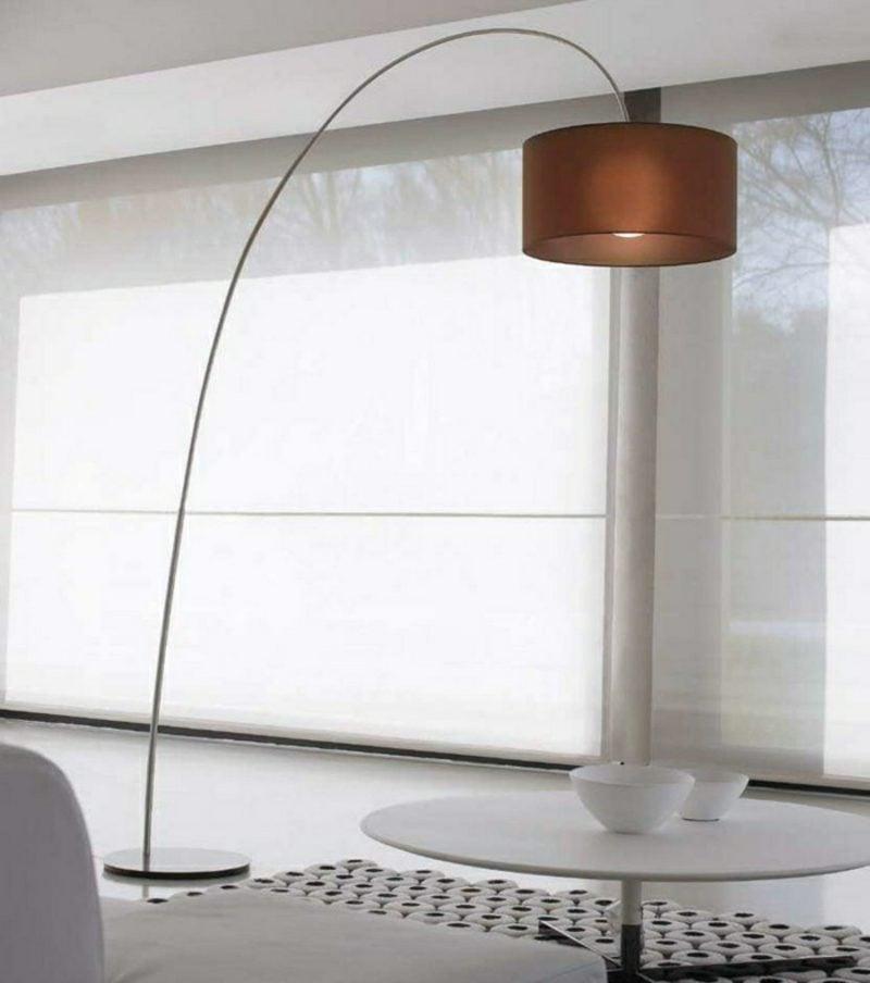 Stehlampen modern Bogenleuchte Stoffschirm