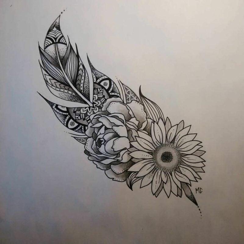 Feder Tattoos Vorlage Blumen