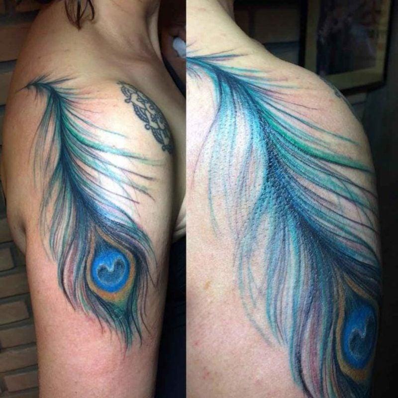Feder Tattoos Pfauenfeder