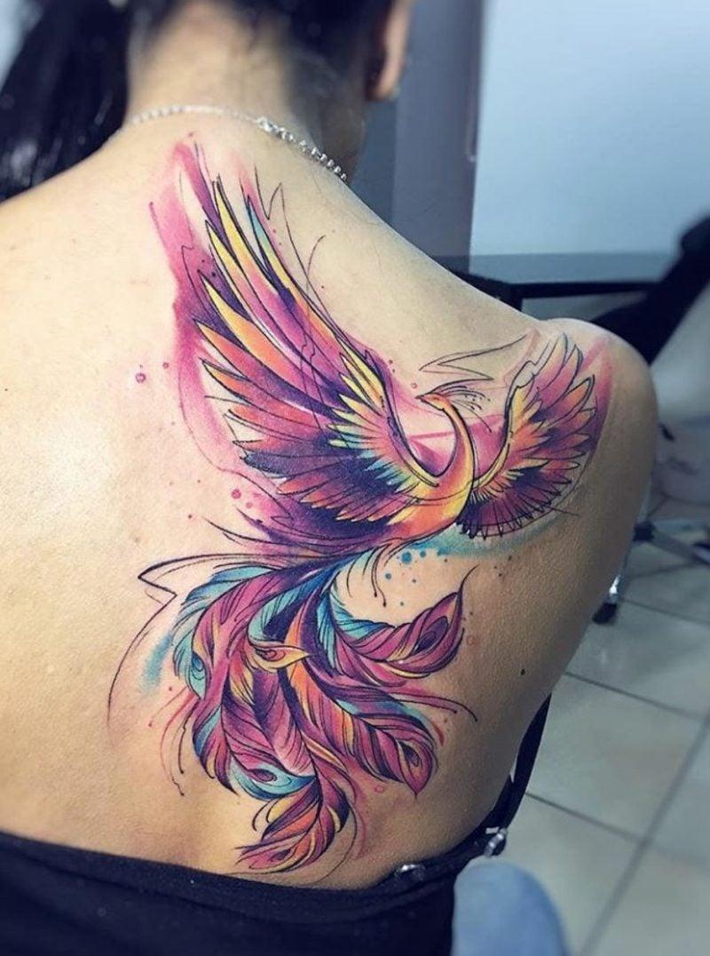 Phönix Tattoo Schulter Rücken Wasserfarben