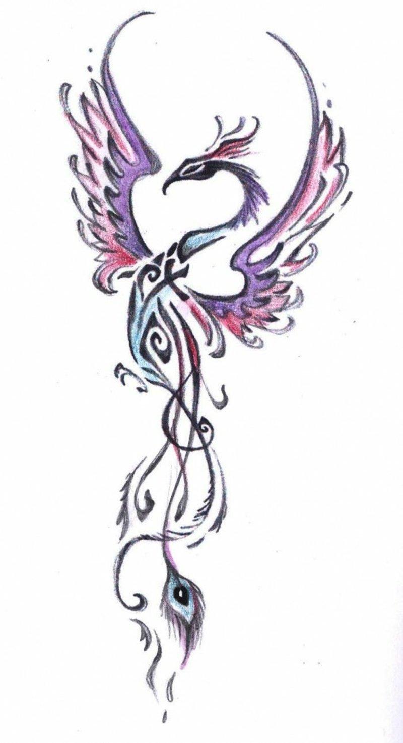 Phönix Tattoo Vorlage stilisiert
