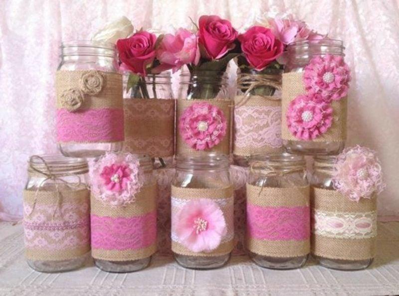 Tischdeko Taufe Einweggläser Blumen