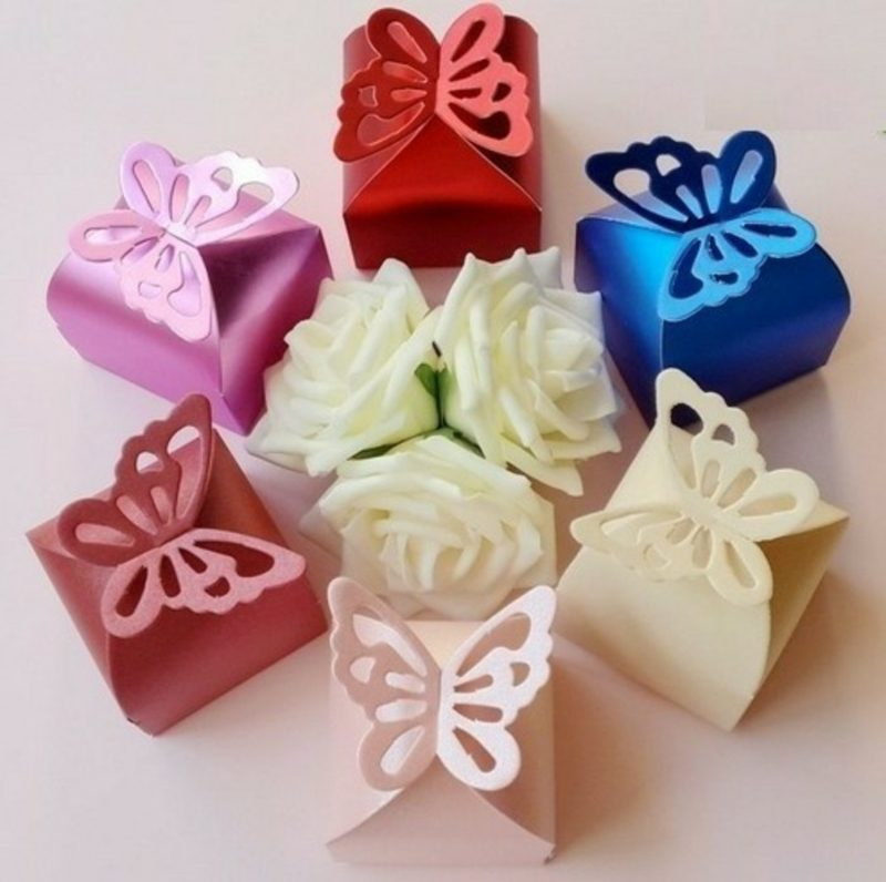 Tischdeko Taufe Geschenkbox Schmetterling Papier