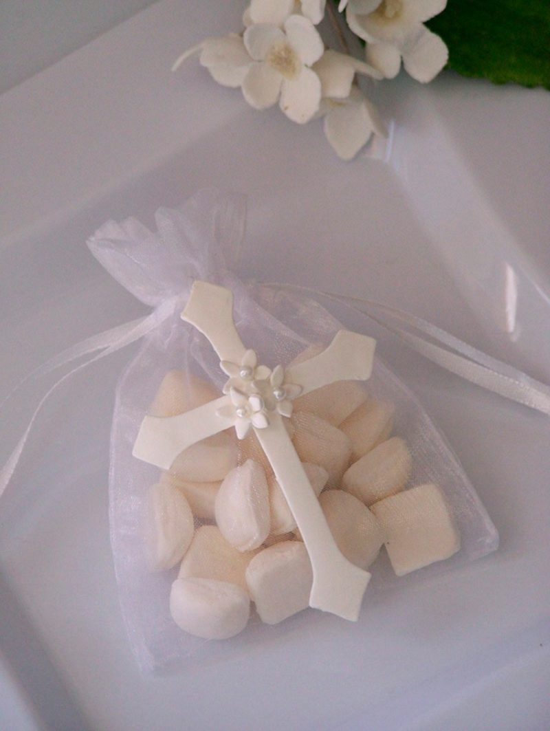 Tischdeko Taufe Tüte mit Kreuz Bonbons