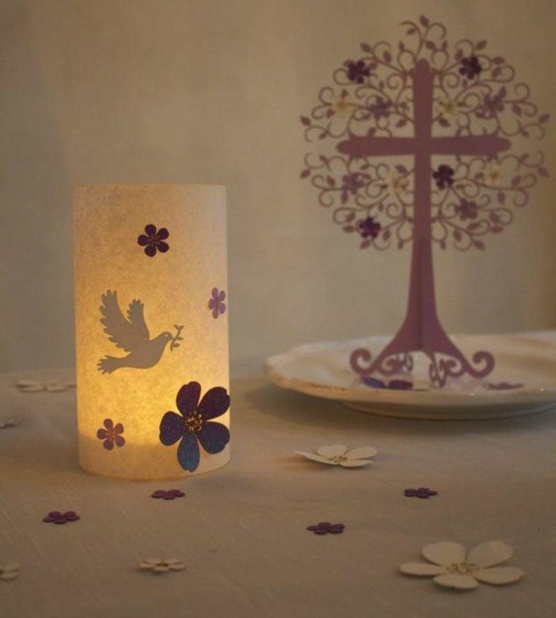 Tischdeko Taufe Baum Leuchte Taube