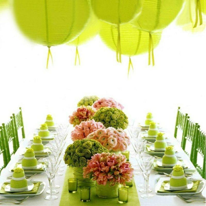 Tischdeko Taufe basteln grüne Akzente