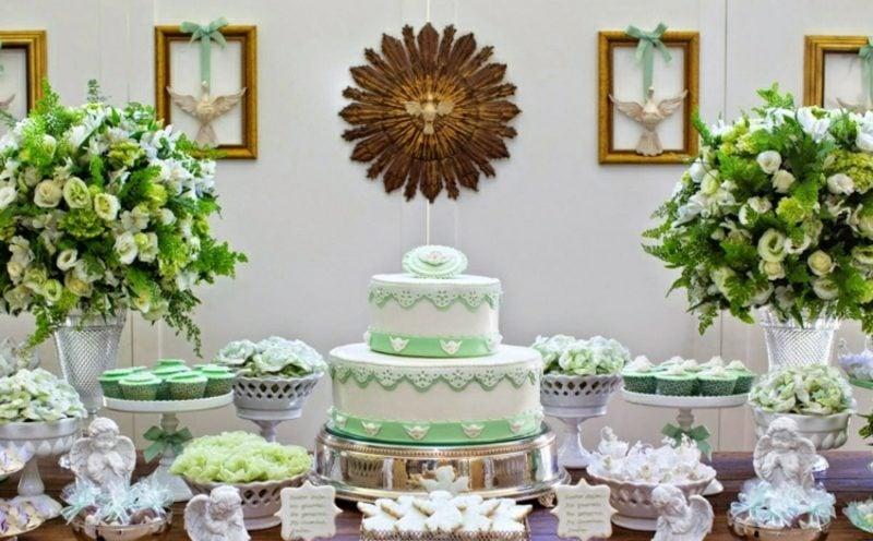 Tischdeko Taufe in Grün und Weiss