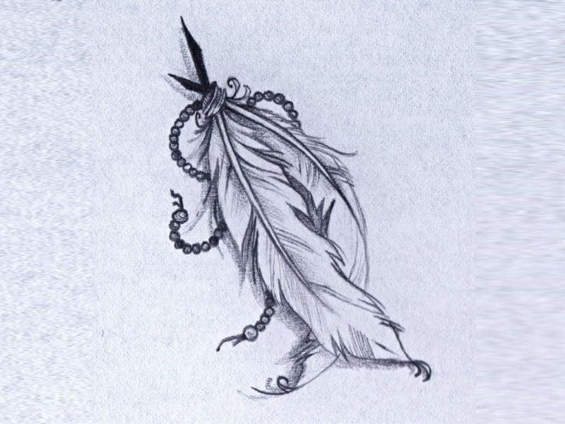 Feder Tattoos Vorlage originell