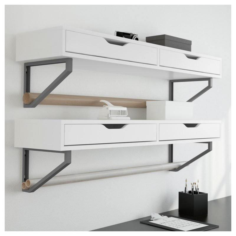 IKEA Wandregal Ekby Alex zwei Schubladen