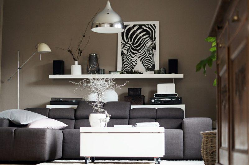 IKEA Wandregal Lack Wohnzimmer stilvoll