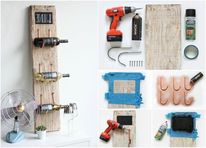 Weinregal selber bauen Holz Metall notwendige Materialien
