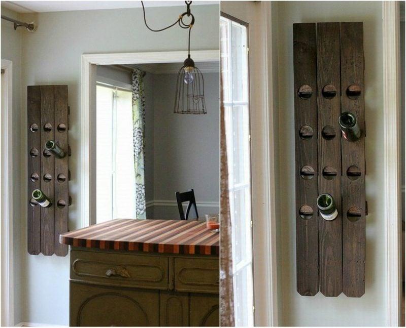 Weinregal selber bauen aus Holz Wand attraktiver Look