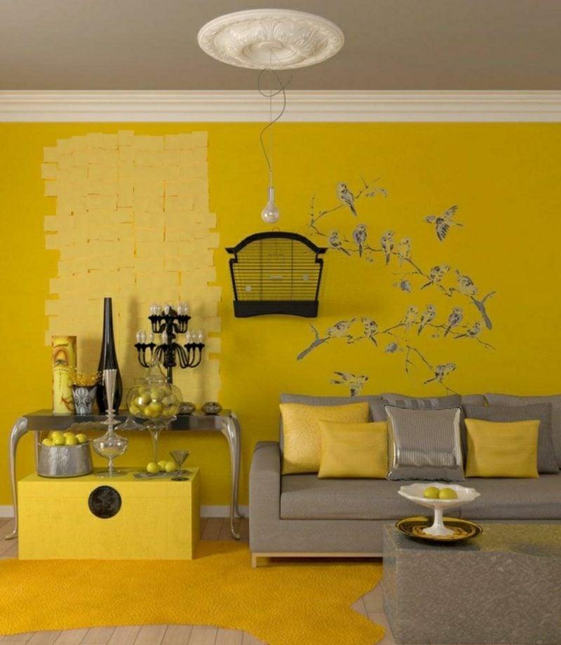 Wohnzimmer farblich gestalten sonniges Gelb