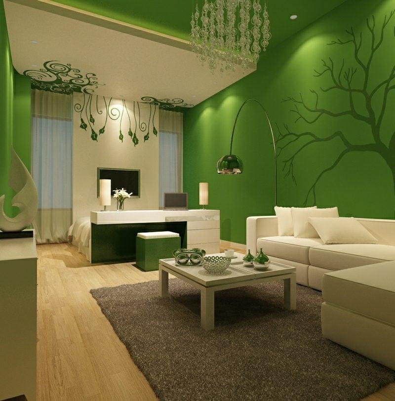 Wohnzimmer farblich gestalten cremefarbe und grün