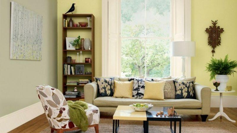 Wohnzimmer Farblich Gestalten Pastellfarben Hellgelb