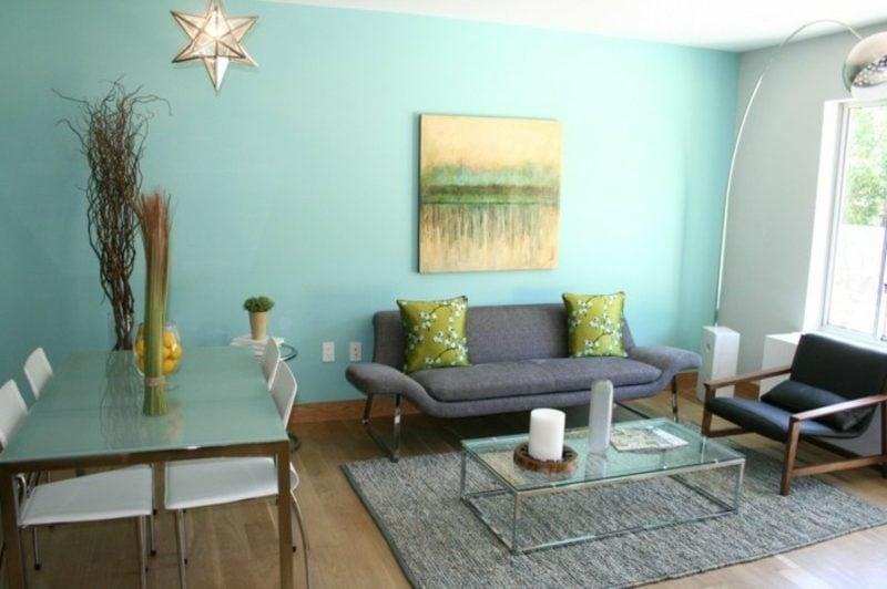 Wohnzimmer farblich gestalten Minzgrün