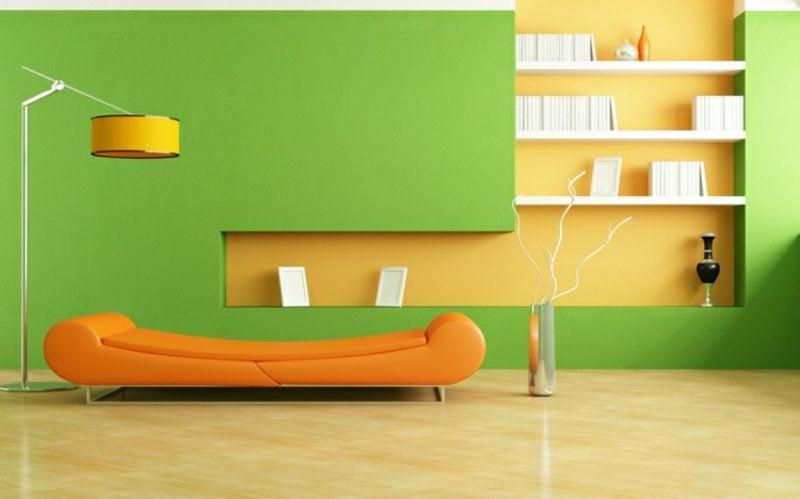 Wohnzimmer farblich gestalten harmonisch orange grün gelb