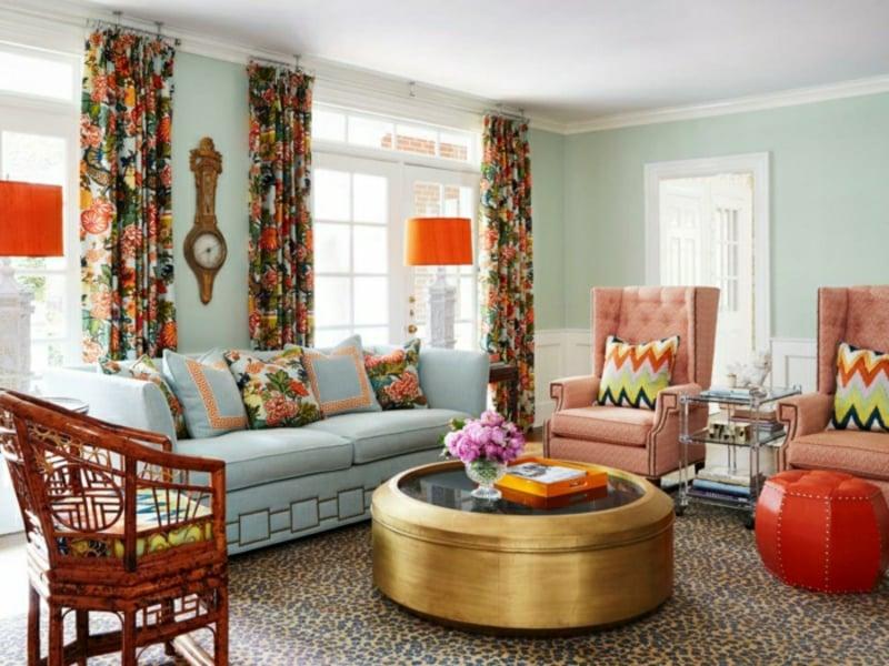 Wohnzimmer farblich gestalten Minzgrün bunte Akzente