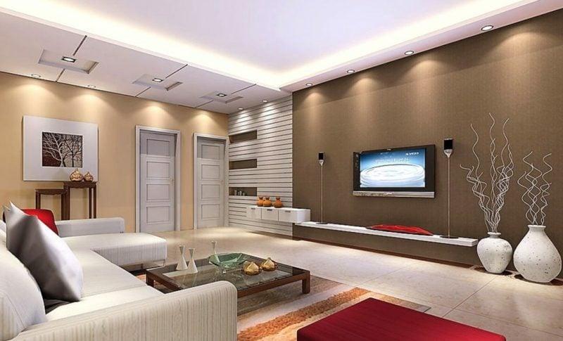 Wohnzimmer farblich gestalten Akzentwand Schokobraun