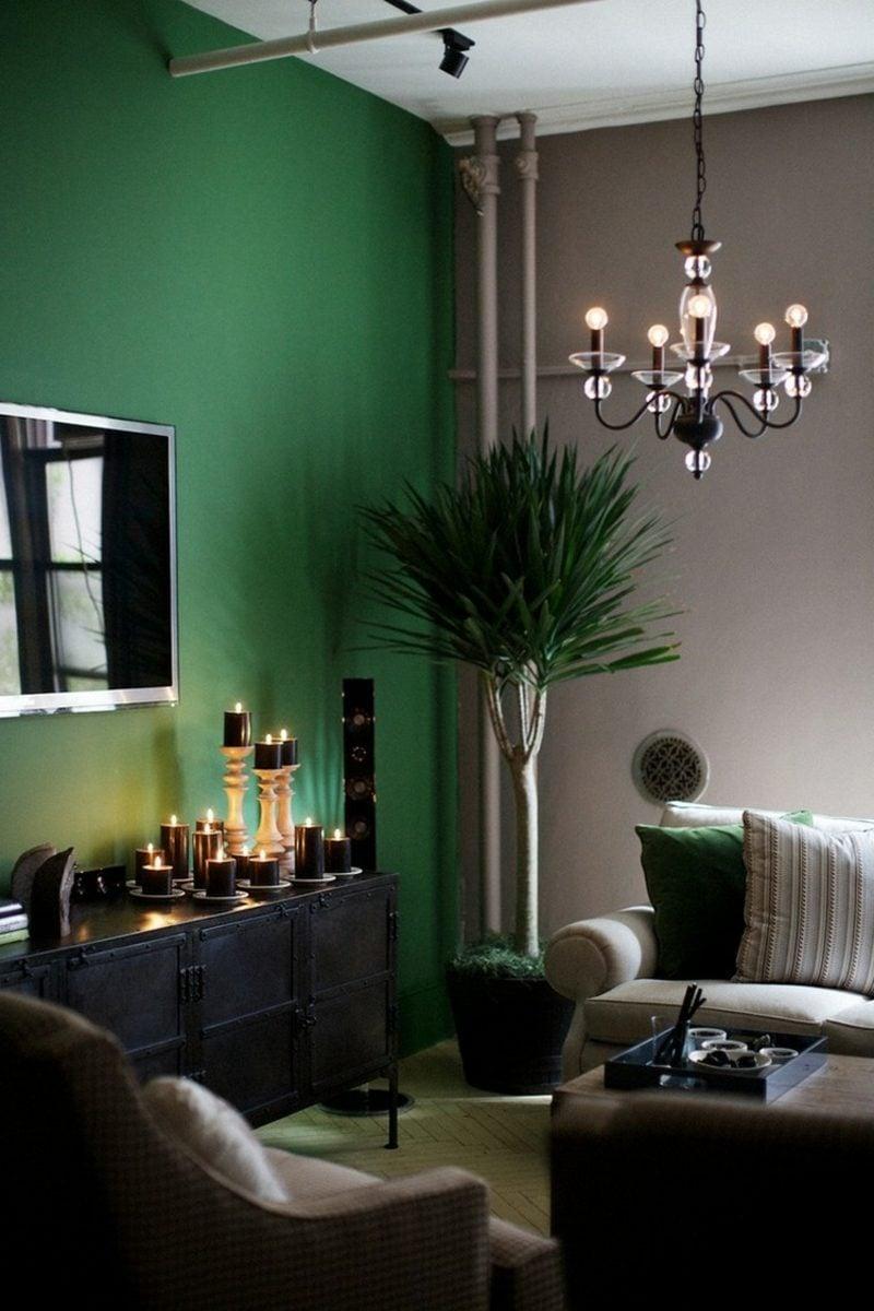Wohnzimmer farblich gestalten Grau Grün