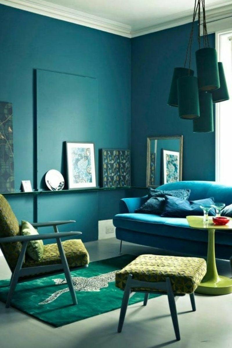 Wohnzimmer farblich gestalten Türkisblau