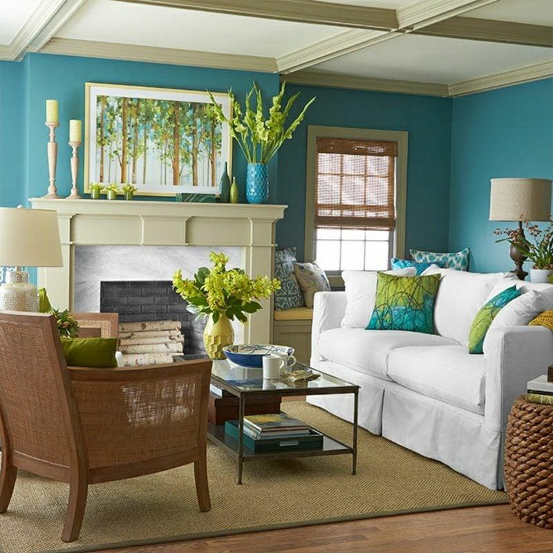 Wohnzimmer farblich gestalten kalte Farben im Interieur