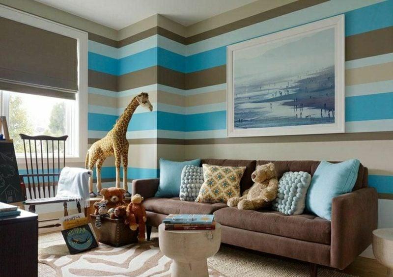 Wohnzimmer farblich gestalten Tapeten Streifenmuster