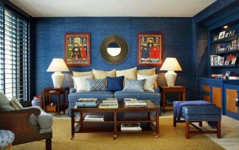 Wohnzimmer farblich gestalten dunkelblau Deko Bilder