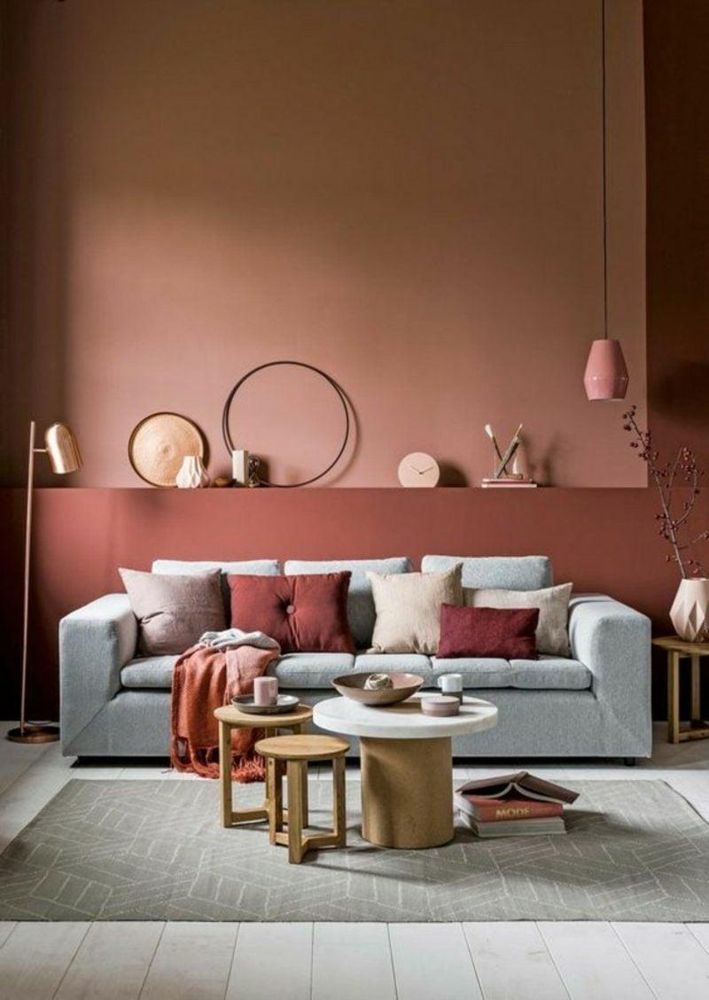 Wohnzimmer farblich gestalten Ziegelrot
