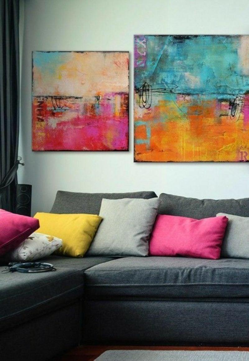 Wohnzimmer farblich gestalten Hingusker Bilder abstrakt