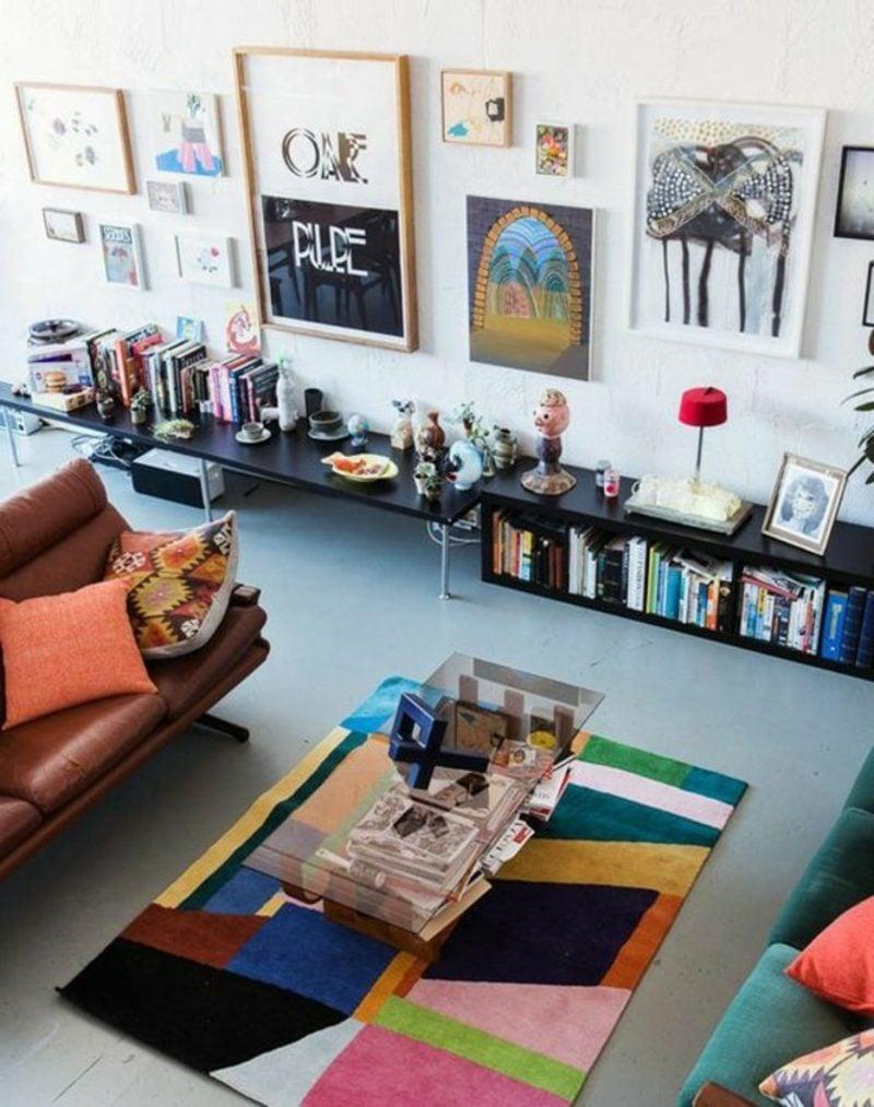 Wohnzimmer farblich gestalten bunter Teppich