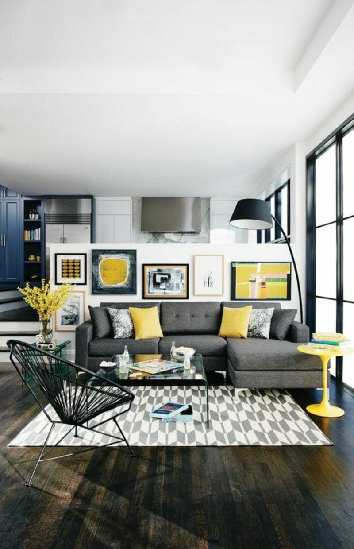 Wohnzimmer farblich gestalten Neutralfarben gelbe Akzente