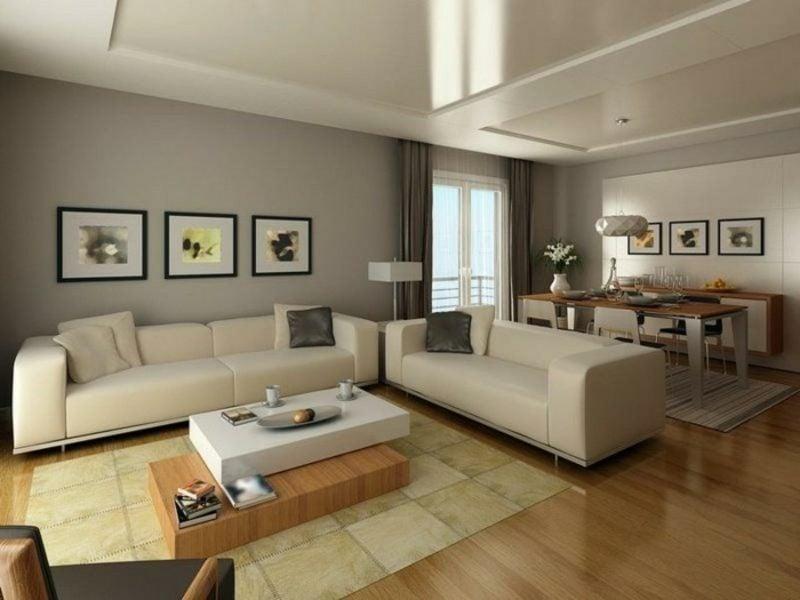 Wohnzimmer farblich gestalten hellgrau cremefarbe