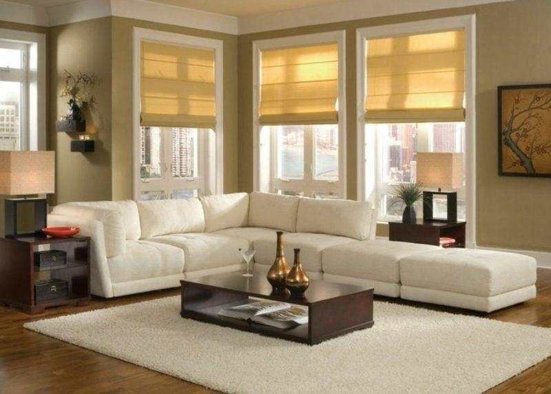 Wohnzimmer farblich gestalten Senfgelb dunkel weiss