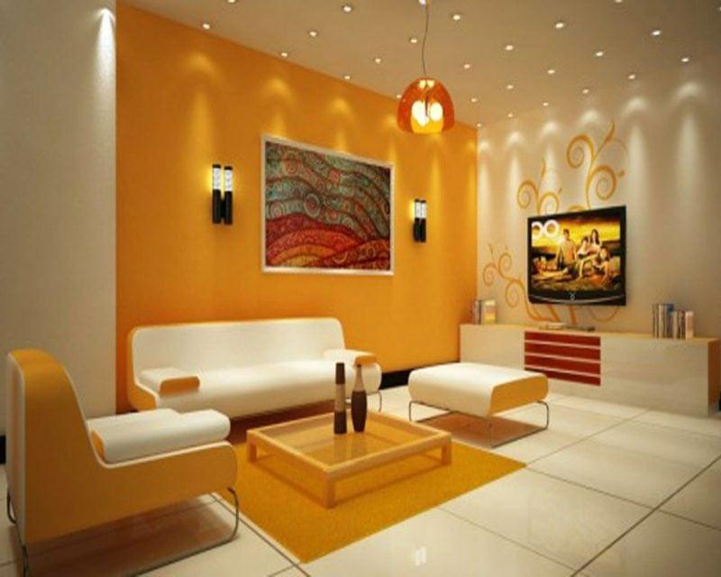 Wohnzimmer farblich gestalten orange und weiss