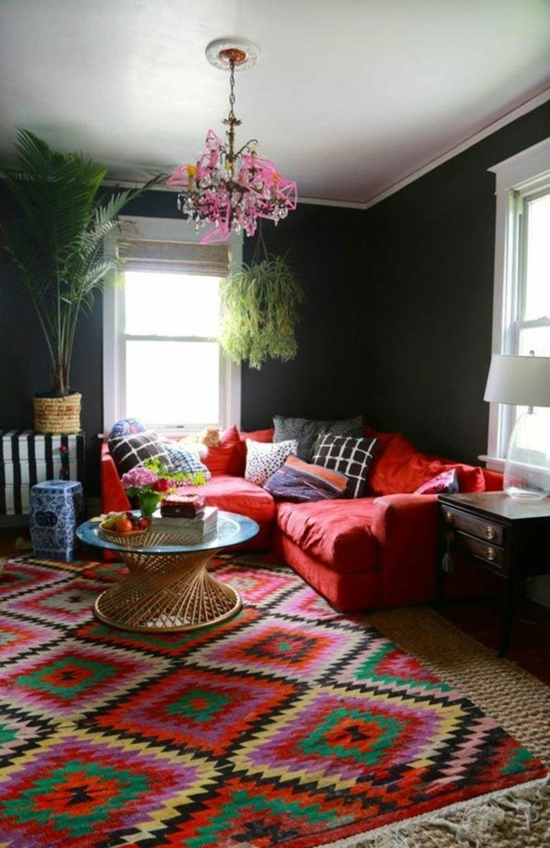 Wohnzimmer farblich gestalten orientalisch dunkelgrau rote Akzente