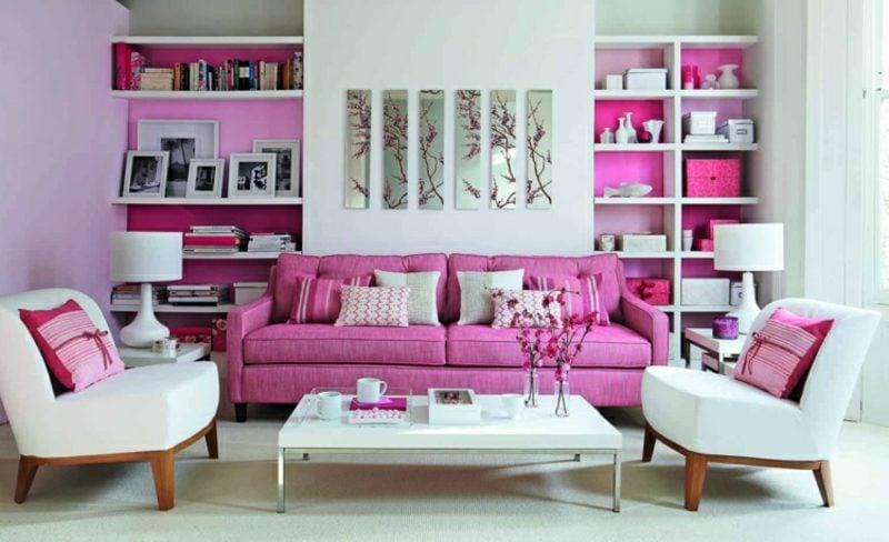 Wohnzimmer farblich gestalten rosa und weiss