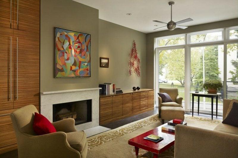 Farbe Salbei vs Olivgrün Wandgestaltung Wohnzimmer