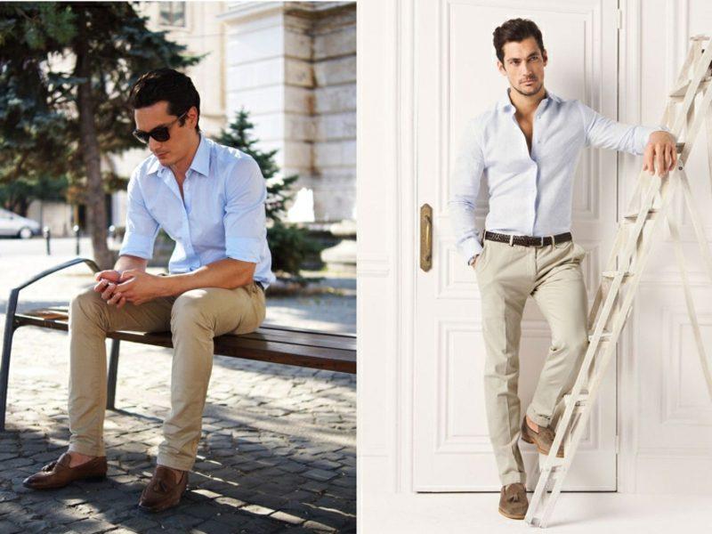 Anzüge Herren helle Hose ohne Sakko Sommer