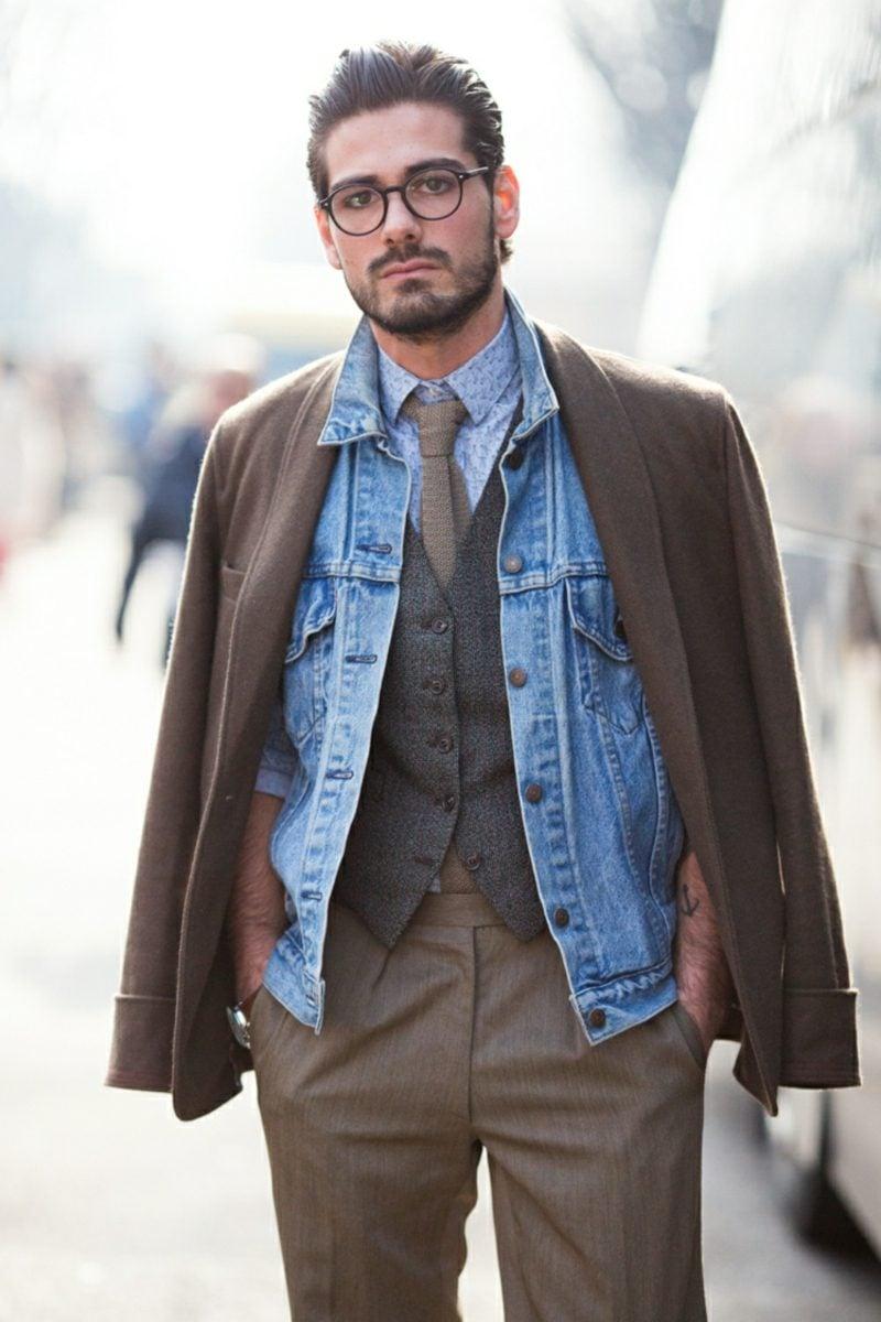 Anzüge Herren braun mit Jeanshemd modern
